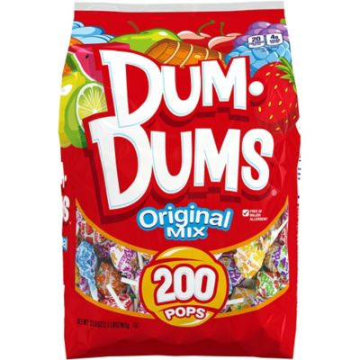 A timeless treat for smart candy lovers! Dum Dum Pops are classic hard candy lollipops in 16 delicious flavors: Banana split blue raspberry bubblegum butterscotch cherry coconut cotton candy cream soda grape mango root beer sour apple strawberry strawberry shortcake tangerine watermelon and Mystery Flavor of course. Mystery Flavor comes from mixing two other flavors together; we can't say what they are without spoiling the mystery! Dum Dum Pops are individually wrapped and ready for your favor bags pinata or candy jar. Package contains 180 lollipops. Dum Dum Pops product details:  180 lollipops per package Candy is individually wrapped 16 flavors Gluten free Package net weight: 30.2oz