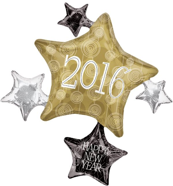2016 Happy New Year Balloon - Star Cluster