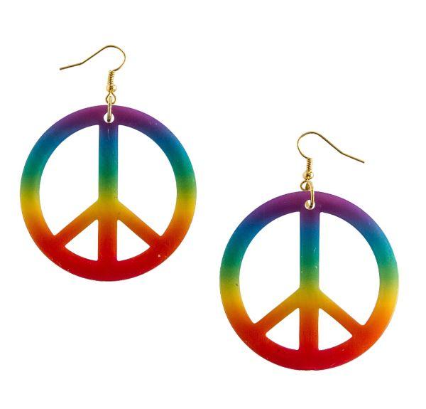 Rainbow Peace Hippie Earrings