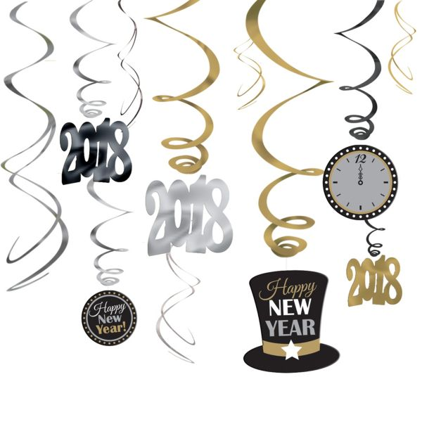 Black, Gold & Silver Happy New Year's Swirl Decorations 12ct