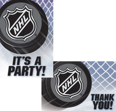 NHL Hockey Invitations & Thank You Notes for 8