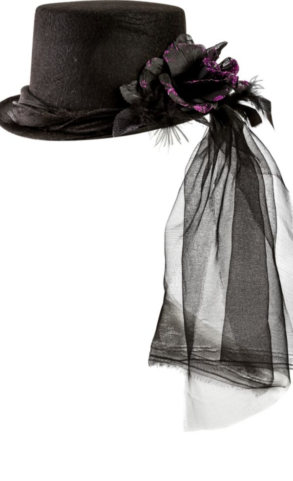 Purple Rose Black Top Hat with Veil