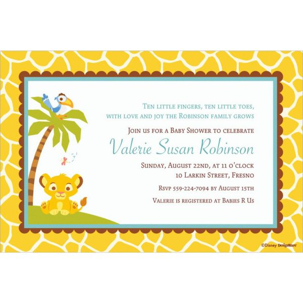 Lion King Baby Shower Invitations – Party City Baby Shower Invitation