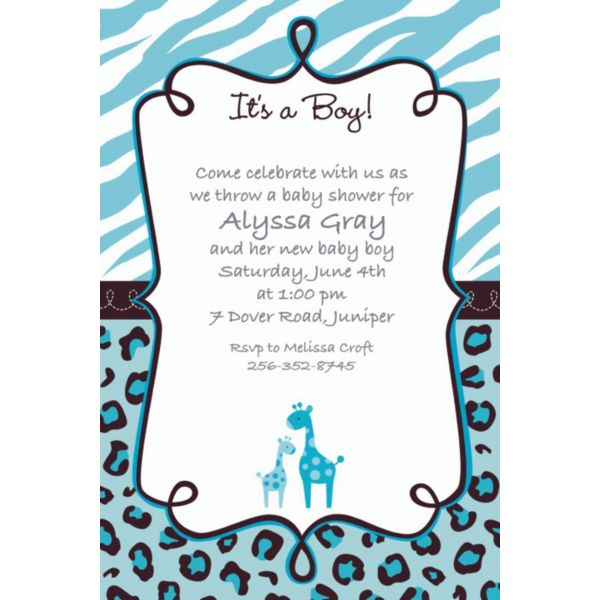 Blue Safari Baby Shower Invitations – Party City Baby Shower Invitation