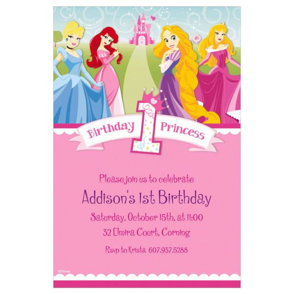Disney Princess 1st Birthday Invitations – Disney Photo Birthday Invitations