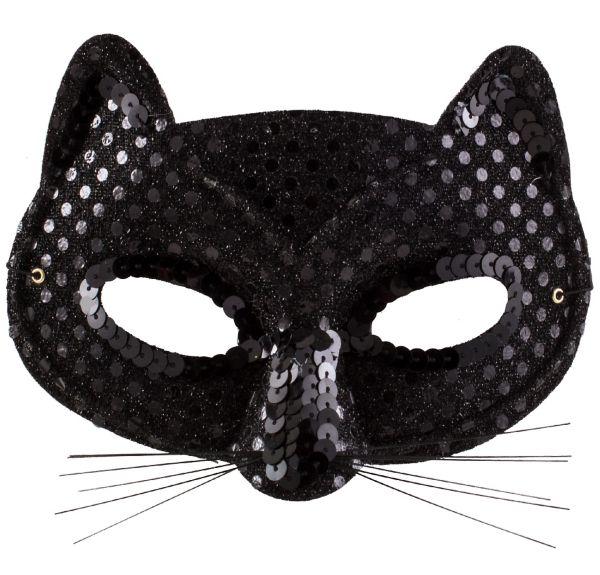 Black Sequin Cat Mask