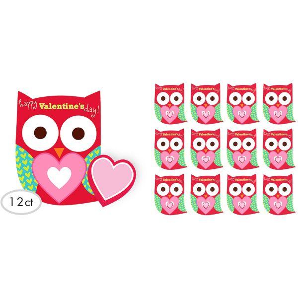Valentine Exchange Cards with Erasers 12ct – Owl Valentine Card