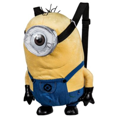 Store all your bapples in a Stuart Minion Plush Backpack! This cute backpack features a soft plush design of your favorite one-eyed Minion from Despicable Me Stuart complete with moveable arms and legs. A zipper on the back opens up to a secure pocket that's great for storing small valuables. With adjustable black straps this huggable and functional friend is perfect to take with you anywhere! Stuart Minion Plush Backpack product details:  Measures 9in x 14 1-2in x 6 1-4in Pocket measures 5in x 5in Plush  Adjustable straps