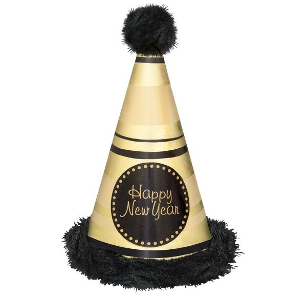 Gold Striped Marabou New Year's Cone Hat