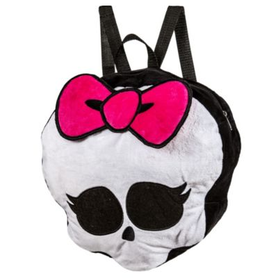 Impress the ghouls at school with a Skullette Plush Backpack! This creepily cute backpack features a soft plush design of the Monster High Skullette crest complete with a fabric bow on top. A zipper on the top opens up to a secure pocket that's great for storing small valuables. With adjustable black straps this freaky and functional Monster High backpack is perfect to take with you anywhere! Skullette Plush Backpack product details:  Measures 13in x 12 1-2in x 5 1-2in Pocket measures 12in x 10in Plush  Adjustable straps