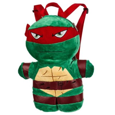 Have a ninja watch your back with a Raphael Plush Backpack! This fun turtle backpack features a soft plush design of Raphael complete with moveable arms and legs. A zipper on the top opens up to a secure pocket that's great for storing small valuables. With adjustable red straps this cool Teenage Mutant Ninja Turtles backpack is perfect to take with you anywhere! Raphael Plush Backpack product details:  Measures 11in x 13 1-2in x 4in Pocket measures 9in x 7 1-2in Plush  Adjustable straps