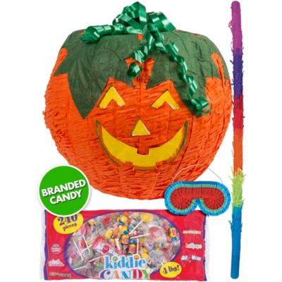 Carve out a good time with a Jack-o'-Lantern Pumpkin Pinata Kit! This value-packed all-in-one pinata kit comes with everything you need for a fun Fall-themed or Halloween party. Jack-o'-Lantern Pumpkin Pinata holds up to 2lb of pinata filler. Jack-o'-Lantern Pumpkin Pinata Kit includes:  Jack-o'-Lantern Pumpkin Pinata 12in Pinata filler 4lb Pinata bat Blindfold
