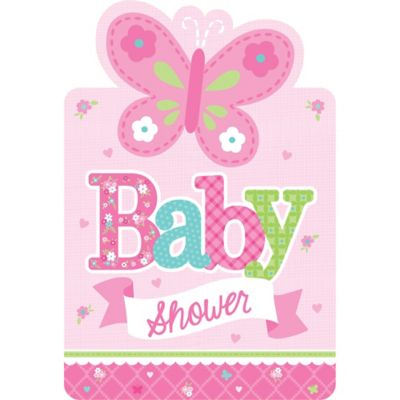 welcome baby girl baby shower invitations 8ct