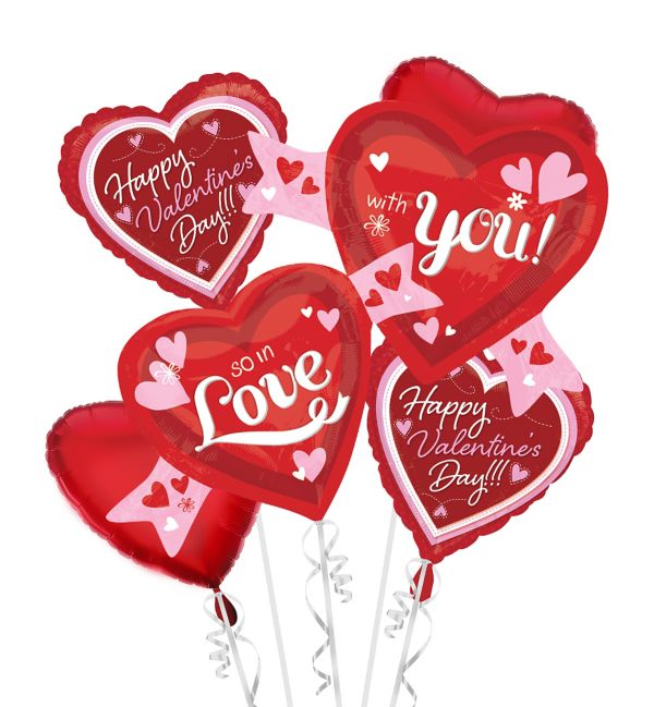 Valentine's Day Balloon Bouquet - So in Love Hearts 5pc