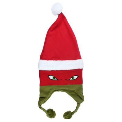 The half-shells are in the holiday spirit with this Teenage Mutant Ninja Turtles Child Christmas Raphael Peruvian Hat! This TMNT hat features green braided cords and Raphael's eyes peering through his signature red mask & he's even wearing a fleece Santa hat! Add it to stockings or wrap it up to give to your little ninja on Christmas morning. Teenage Mutant Ninja Turtles Child Christmas Raphael Peruvian Hat product details:  Hat 8 1-2in wide x 21in tall when flat Cords 5in long 100% acrylic One size fits most children Hand wash cold dry flat  Officially licensed ©Nickelodeon Teenage Mutant Ninja Turtles™ product.