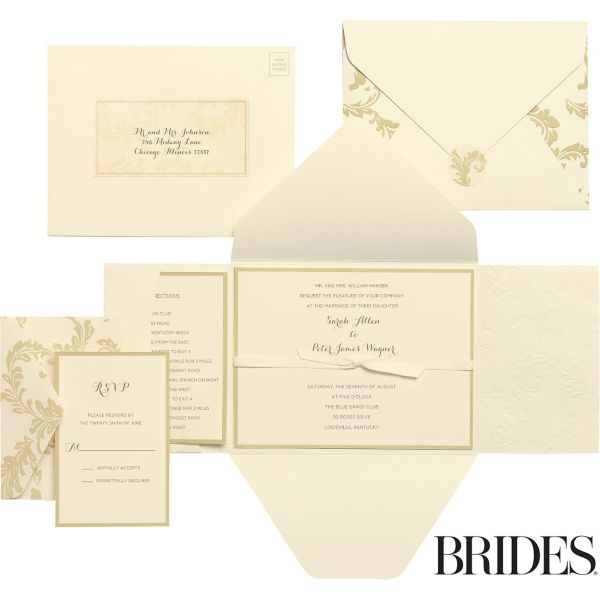 Damask Printable Wedding Invitations Kit 30ct – Gold Wedding Invitation Kit