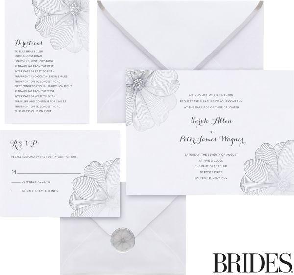 silver flower printable wedding invitations kit 30ct, Wedding invitations