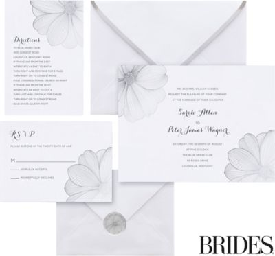 Silver Flower Printable Wedding Invitations Kit Ct, Wedding Invitations