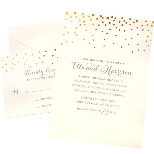 Gold Dot Printable Wedding Invitations Kit 50ct – Gold Wedding Invitation Kit
