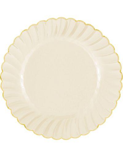 cream gold trimmed scalloped premium plastic dinner plates