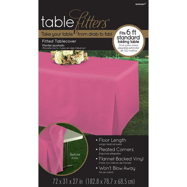 Bright Pink Flannel Backed Vinyl Fitted Table Cover
