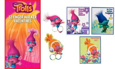 Trolls Finger Walker Valentine Exchange Cards 32ct