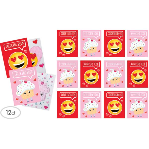 Smiley Cupcake Valentine Coloring Books Exchange Cards 12ct