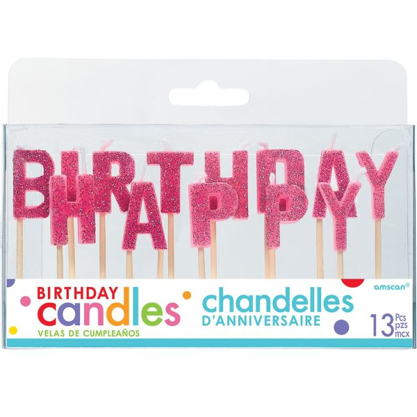 Glitter Pink Happy Birthday Toothpick Candle Set 13pc