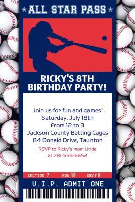 Custom Baseball Ticket Invitation