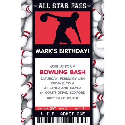 Custom Men's Bowling Ticket Invitation