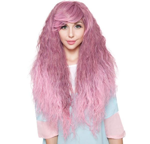 Crimped Light Pink Rose Fade Cosplay Wig