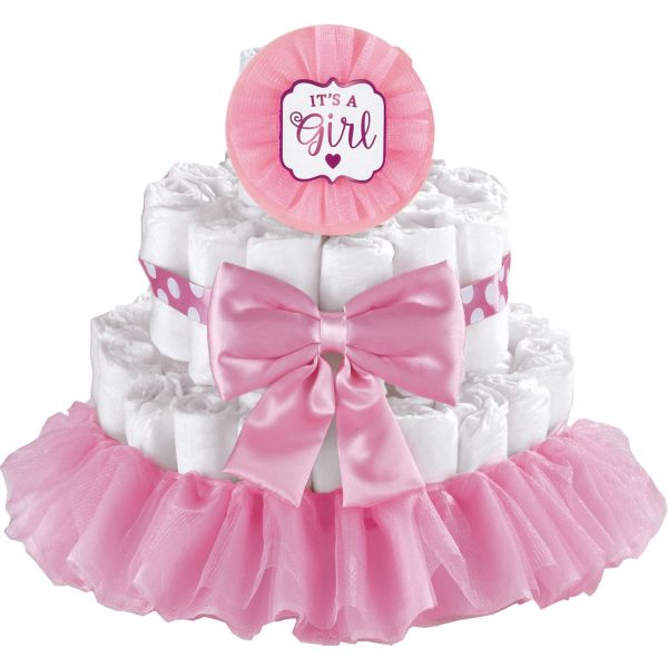 Diaper Cake Decorating Kit : Pink It s a Girl Baby Shower Diaper Cake Decorating Kit