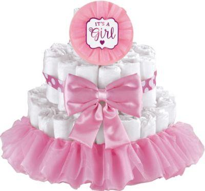 Baby Shower Cake Decorating Kits Part - 33: Pink Itu0027s A Girl Baby Shower Diaper Cake Decorating Kit