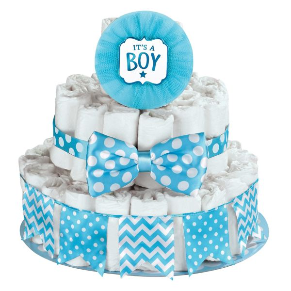Diaper Cake Decorating Kit : Blue It s a Boy Baby Shower Diaper Cake Decorating Kit