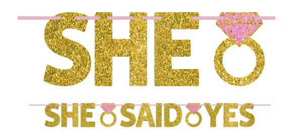Gold She Said Yes Letter Banner
