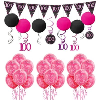 100th Birthday Pink Sparkling Celebration Decorating Kit Party Supplies
