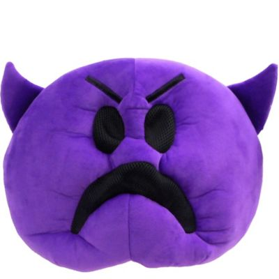 Become the grumpy emoji of the bunch wearing this Oversized Frowning Purple Devil Icon Mask! This mask is designed to look like the frowning purple devil emoji and covers your entire head. The eyes and mouth feature a black mesh material that you can see out of. If you're feeling devilish this Halloween dress up as the purple devil emoji with this mask!  Oversized Frowning Purple Devil Icon Mask product details:   17in wide x 5 1-2in long x 12in tall  Polyester One size fits most teens and adults  Officially licensed EMOJINATION product