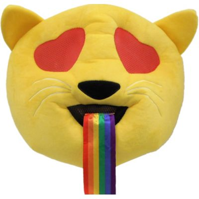 If you're so happy that you can't contain it show it at the costume party wearing this Oversized Heart Eyes Cat with Rainbow Tongue Mask! This oversized polyester mask is designed to look like the heart eyes cat emoji with a strip of rainbow fabric coming out of the mouth. The mouth features a black mesh material to see through and the eyes have a red mesh material to see through. Dress up as a cat that is full of love and joy with this mask!  Oversized Heart Eyes Cat with Rainbow Tongue Mask product details:   16in wide x 6in long x 12 1-2in tall Polyester One size fits most teens and adults  Officially licensed EMOJINATION product