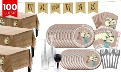 Rustic Wedding Bridal Shower Tableware Kit for 100 Guests
