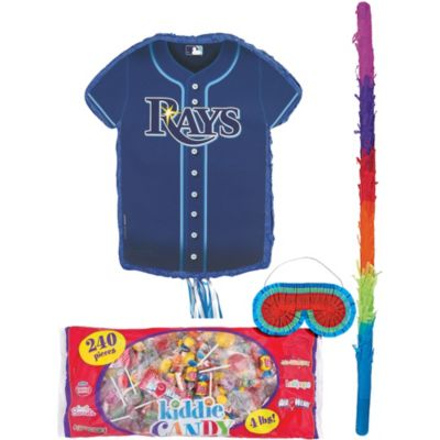 It's a whole new ball game with a Tampa Bay Rays Pinata Kit! This pull-string pinata is shaped like a jersey and features the Tampa Bay Rays logo. Little leaguers of all ages can join in on the fun by taking turns safely pulling the strings attached to this Tampa Bay Rays pinata. Only one string releases the included candy treats! This all-in-one kit also comes with candy a pinata bat and blindfold so you have everything you need for a classic Tampa Bay Rays party game.  Tampa Bay Rays Pinata Kit includes:  Pull String Tampa Bay Rays Pinata 18in wide x 19 3-4in tall Pinata filler 4lb Pinata bat 30in long Blindfold 7in wide