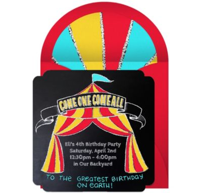 Online Circus Chalkboard Invitations