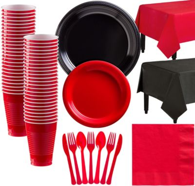 Black and Red Plastic Tableware Kit for 50 Guests