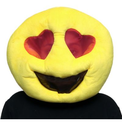 Become one of the best-loved text icons for Halloween in a Heart Eyes Smiley Mask! The oversized yellow plush emoji mask features a breathable mesh layer over the heart-shaped eyes and smiley mouth. Put on the Heart Eyes Smiley Mask with a black or yellow outfit and you're ready to go!  Heart Eyes Smiley Mask product details:  12in wide x 18in long 100% polyester Spot clean only One size fits most teens and adults