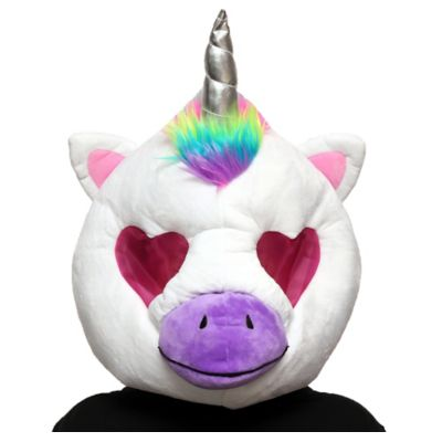 The white Unicorn Mask is an oversized plush mask that features a unicorn horn and a multicolor mane. There's a breathable mesh layer over the pink heart-shaped eyes and a purple snout. Put on the Unicorn Mask with a black outfit or vibrant ensemble and you're ready to go! You'll look like you came right out of a mystical forest wearing this for Halloween or to your next furry convention. Unicorn Mask product details:  14 1-2in wide x 18in long 100% polyester Spot clean only One size fits most teens and adults