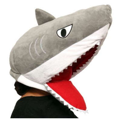 You'll look like you came right out of the ocean in a Shark Mask for Halloween or shark week. The gray oversized plush mask features a shark head with a wide open mouth and sharp teeth. There's a mesh layer in the mouth for breathability. Put on the Shark Mask with a black outfit or shark costume and you're ready to go! Shark Mask product details:  21 1-2in wide x 16in long 100% polyester Spot clean only One size fits most teens and adults