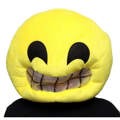 Become one of the best-loved text icons this Halloween in a Big Grin Smiley Mask! The oversized yellow plush emoji mask features a breathable mesh layer over the smiley mouth. Put on a Big Grin Smiley Mask with a black or yellow outfit and you're ready to go! Big Grin Smiley Mask product details:  13 1-2in wide x 19in long 100% polyester Spot clean only One size fits most teens and adults