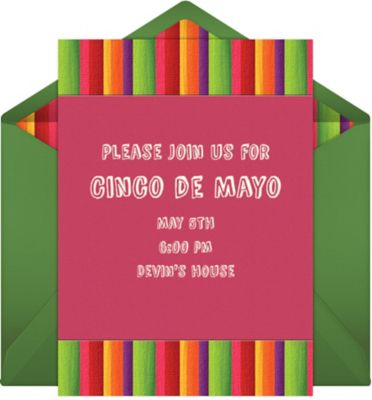 Online Fiesta Stripes - Pink Invitations