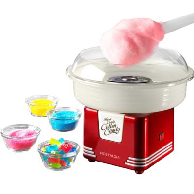 Now the little ones can make cotton candy using their favorite hard candies with a Hard Candy Cotton Candy Maker! This red metal and plastic cotton candy maker makes cotton candy using hard candy sugar-free cotton candy and flossing sugar and is a great addition to your child's carnival birthday party. Everyone can make their own unique cotton candy at the carnival party using this cotton candy maker! Hard Candy Cotton Candy Maker includes:  11 1-4in wide x 10 1-4in tall when assembled Suction cup feet Attached power cord 41in long On-off switch 120V compatibility Includes 2 plastic cones Includes sugar scoop Includes instructions