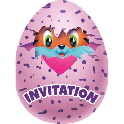 Hatchimals birthday party Invitations 8ct