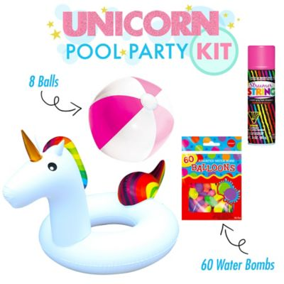 There is no telling what will happen when you get this summer fun kit. Were positive a herd of your friends will jump at the chance to hang out with your giant unicorn buddy. Plus you get eight beach balls for endless hours of tossing kicking and passing. Will the unicorn dive in hooves first? Who will get the streamer string? Precisely how long will the water balloon war last? Let us know how it goes with #partycity This kit includes:    1 Pink Streamer String (SKU 485742)   8 Pink & White Beach Ball (SKU 345754)   1 Rainbow Unicorn Pool Float (SKU 816670)   60 Assorted Color Water Bombs (SKU 87954)
